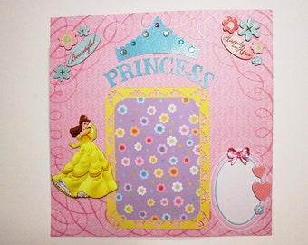 ON SALE 40% OFF - Disney Princess Belle - Premade Scrapbook Page 12x12