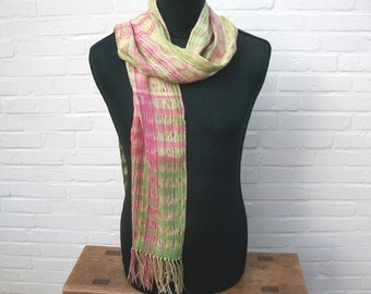 handgewebter scarf in pastel tones, 80 lines 20 cotton, pink pink green yellow, with lace-like gaps, fringe, one of a child
