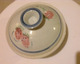 Handmade Ceramic Porcelain Casserole with Strawberry Decoration