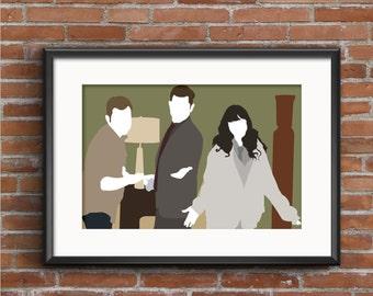New Girl Poster - New Girl Print - Nick Miller Poster - Schmidt Print - Jessica Day Print - Zooey Deschanel Poster - Geek Gift - TV Poster