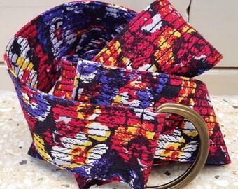 Vintage Floral Print Fabric Belt