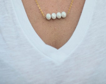 White Faceted Glass Bead Necklace