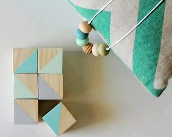 BABY BLOCKS - Play Blocks - Teal, Mint & Grey
