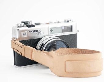 Hand-stitched Leather Camera Wrist Strap   Veg Tan Leather