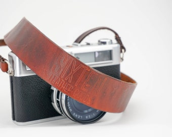 Hand-stitched Leather Camera Neck Strap | Hand-dyed Veg Tan Leather | Brown