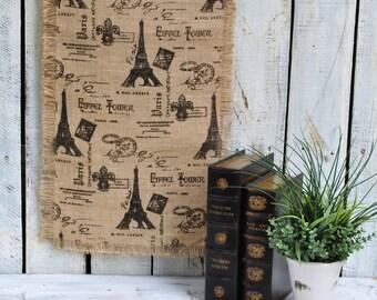 """Paris Print Burlap Table Runner 16"""" X 72"""""""