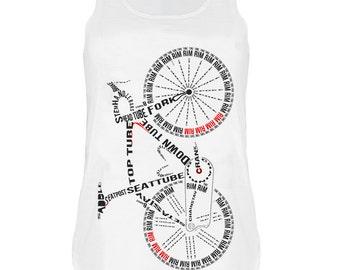 Letter Bicycle print Tank top vest urban womens ladies tshirt
