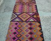 Pink Rug,Rug Runners,Handmade,Secorative Rug Runner,Pink Throw Rug,Pink Area Rug,Wool Rug,Aztec Rug,Pink Runner,Home Decor