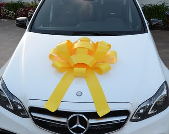 "Yellow Car Bow With Magnetic Base Water Resistant Bow Extra Large Bow Gift Bow Bows For Cars Large Car Bow Giant Bow Gigantic Bow 30"" Bow"