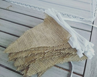 10 metres of plain hessian bunting 5 flags per metre wedding decor barn bunting jute burlap rustic country wedding