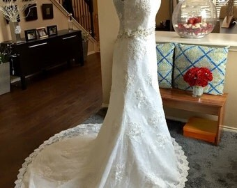 Aline Lace Wedding Dress / A Line Bridal Gown / Romantic Beaded Wedding Dress / Cap Sleeves Wedding Dress / Illusion Lace Wedding Dress