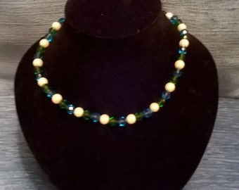 Faceted Bead and Pearl Necklace