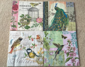 4 Single paper decoupage napkins. Beautiful birds and peacocks details. Verry sweet. Perfect for decoupage, craft and collections
