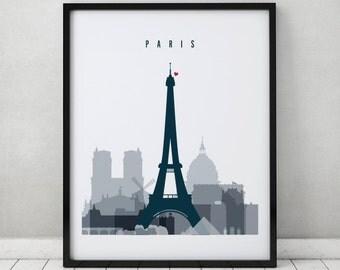 Paris skyline art print, Poster, Travel Wall art, France, City poster, Typography art, Gift, Home Decor Digital Print ArtPrintsVicky.