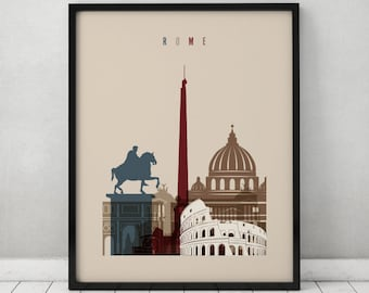 Rome print, Poster, Wall art, Italy cityscape, Rome skyline, City poster, Typography art, Gift, Home Decor Digital Print, ArtPrintsVicky.