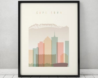 Cape Town print, Poster, Wall art, Cape Town South Africa skyline, City poster Typography art Gift Home Decor Digital Print ART PRINTS VICKY