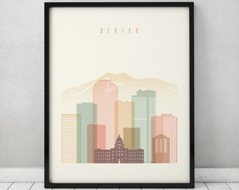 Denver Print Poster Wall Art Colorado Cityscape Denver Skyline City Poster
