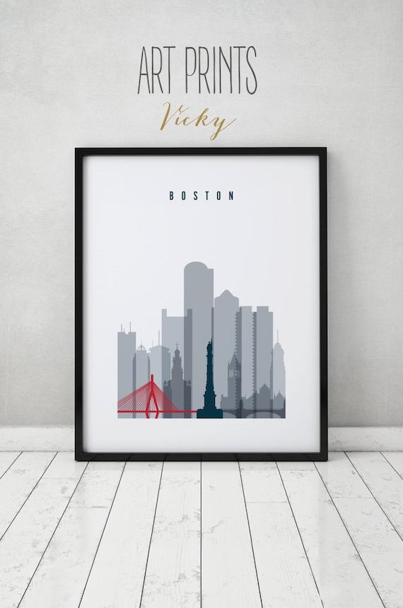 boston print poster travel wall art boston massachusetts