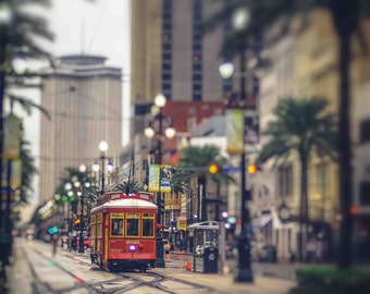 New Orleans Street Car, New Orleans Louisiana, Print, New Orleans Photograph, French Quarter Art, New Orleans Art, Canal St, Red, Artwork