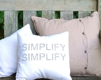 Simplify - rustic natural cotton canvas  accent cushion cover