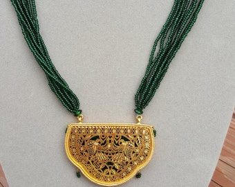 Theva temple necklace - Green