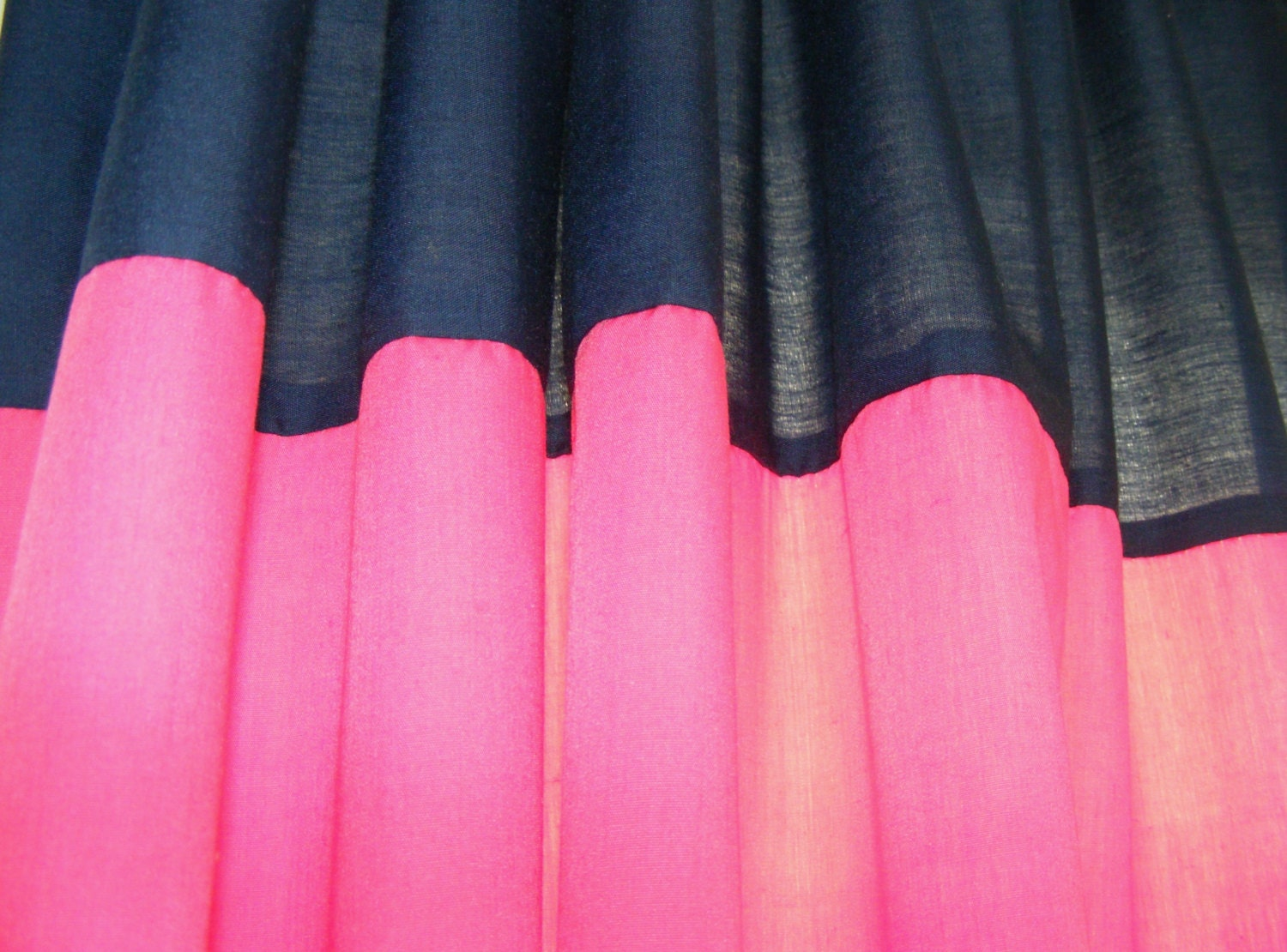 Horizontal Striped Curtain Panels Navy And Hot Pink Pair Lined