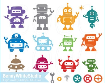 Digital Robots Clip Art. For Personal and Small Commercial Use. B-0043.