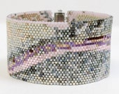 Hold for Danielle G. Peyote Beadwoven Abstract Art Bracelet Cuff, Strawberry Road Pink Gray White Contemporary Modern OOAK Jewelry