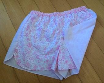 Kids pajama shorts pink flowers/pink stripes