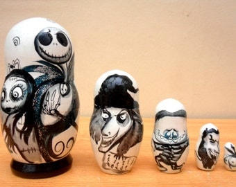 "Russian Nesting Dolls ""The Nightmare before Christmas"" Jack Skellington."