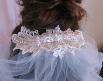 White Lace Birdcage Veil