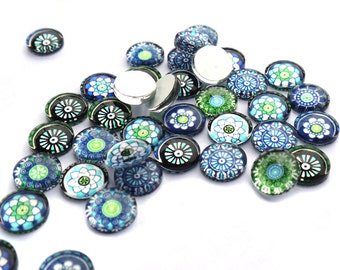 20 piece 10mm of blue-green glass cabochons