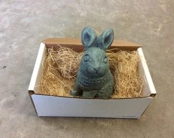 Garden Rabbit Statue, Bunny Statue, Stone Rabbit, Cement Bunny, Garden Statue - Fat Fuzzy Rabbit in Gift Box