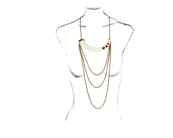 Triple Ruby Wild Boar's Tusk Necklace