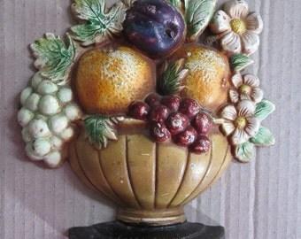 Vintage Cast Iron Hubley Door Stop Circa 1920 Fruit Bowl Doorstop Number 456