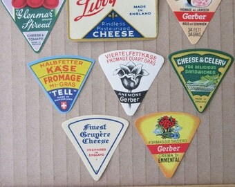 8 Vintage Paper Cheese Labels Food Labels Assorted Vintage Ephemera  Group G