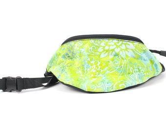 Fanny pack Batik Green Floral fabric  - Hip Waist Bag for travel, sport, and recreation with 2-zippers