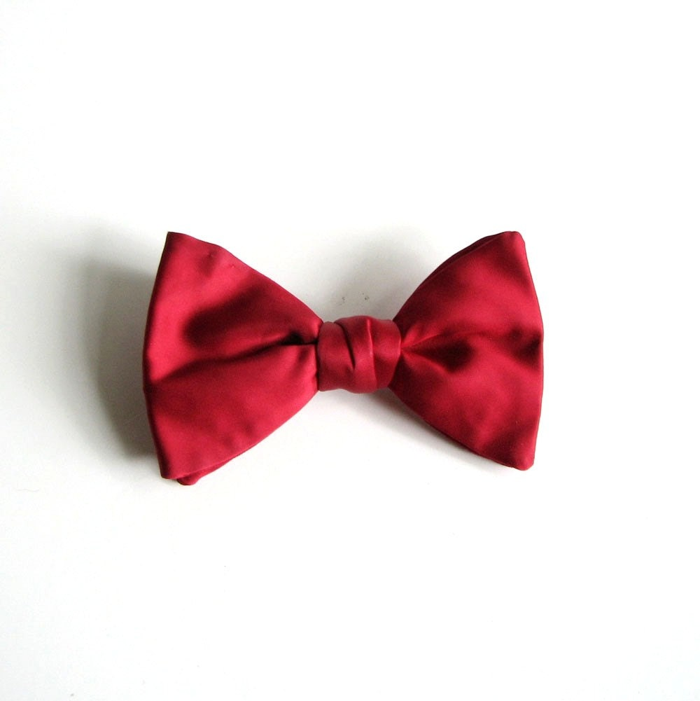 burgundy bow tie vintage mens bow tie satin bow tie