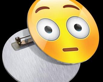 Flushed Face Emoji PN1004 Funny Pins Buttons