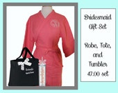 Getting Ready Robe Set, Monogrammed Robe, Personalized Tote, and Tumbler, Team Bride, Bridesmaid Gift Set