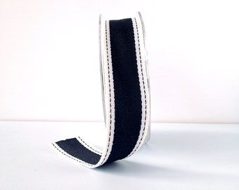 """Striped Ribbon 1"""" Wide - Black with Ivory Border - Woven Fabric Ribbon with Stitched Edge 10 Yards"""