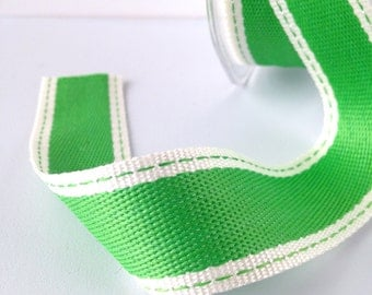 """Striped Ribbon 1"""" Wide - Parrot Green with Ivory Border - Woven Fabric Ribbon with Stitched Edge 10 Yards"""