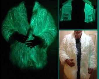 GLOW Party Coat Playawear Rave Festival Light ElWire Burningman style Fauxfur Neon lightup FurCoat illuminated Jacket Playawear LAST ONE