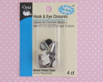 Hook and Eye Closures | Dritz brand no sew hook and eye fastener closure hardware for lapped skirt or pants waistband.