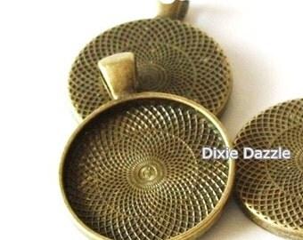 DIY Jewelry 20 bronze settings, 1 inch pendant tray, bronze cabochon base, antiqued brass bezel, resin frames, bezel for jewelry   310C