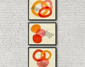 abstract trio - three illustrated art prints on Japanese matte fine art cotton paper
