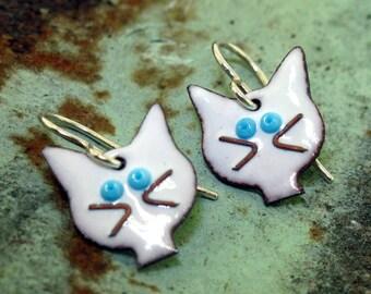 Cat Earrings - black or white glass enamel earrings by Kathryn Riechert