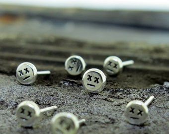Little Zombie Stud Earrings, tiny silver studs with posts, minimalist earrings by Kathryn Riechert