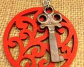 Red Filigree Charm w/ Wood Skeleton Key Necklace