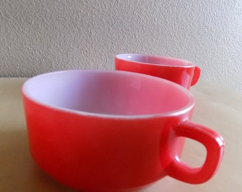 1960s FireKing Oversized Milkglass Soup Cup/Red